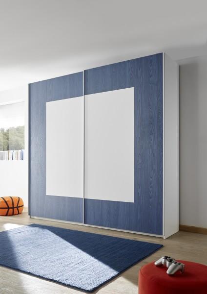 Schwebetürenschrank 179cm weiß Melamin geriffelt/ weiß Lack matt/ blau