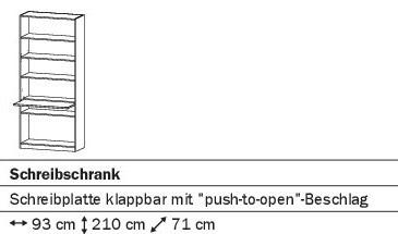 Schreibschrank 93cm alpinweiß oder weiß HG