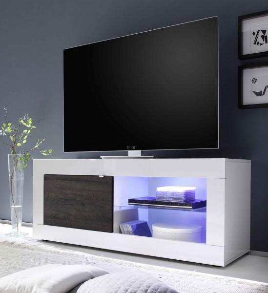 LC Spa Basic TV Unterteil 140cm weiß/Wenge mit Glasablage