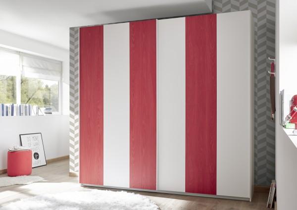 Schwebetürenschrank 179cm weiß Melamin geriffelt/ weiß Lack matt/ rot