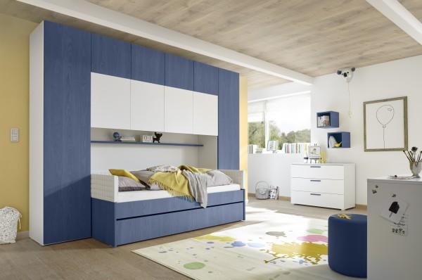 Funktionsbett mit Bettbrücke weiß Melamin/ Holzstruktur blau