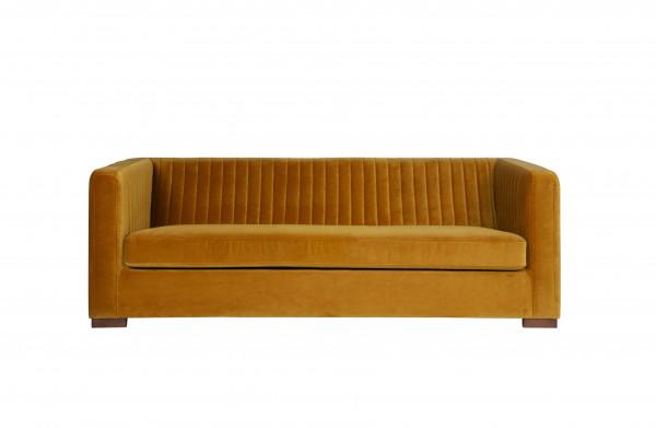 Sofa 3-Sitzer Samt Stoff Senf verschiedene Größen