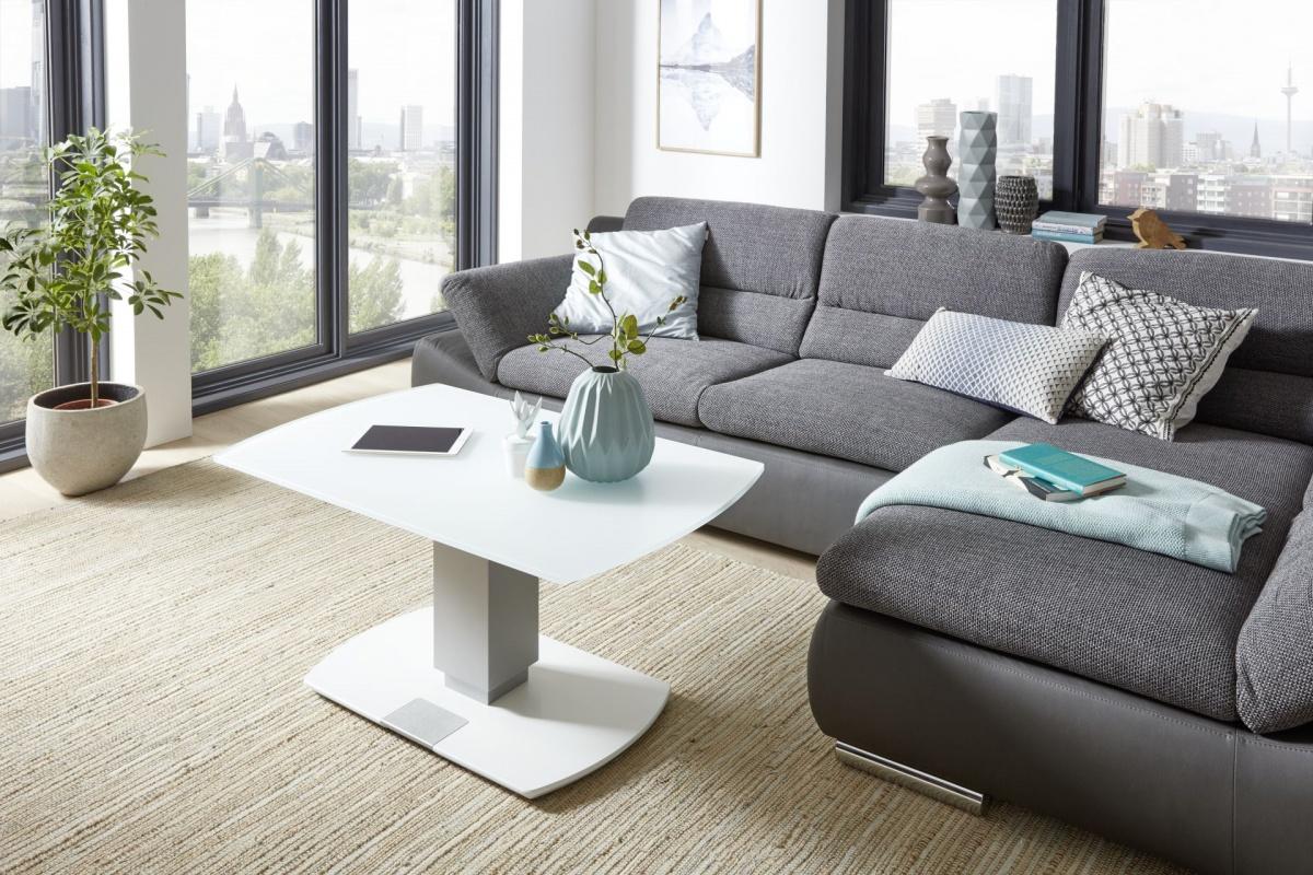 couchtisch 100x62cm h henverstellbar glas wei matt ebay. Black Bedroom Furniture Sets. Home Design Ideas